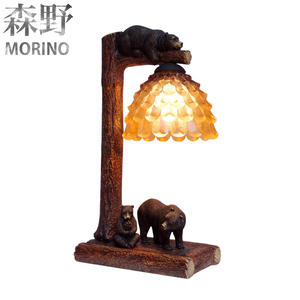 Polyresin Bear rustic table lamps for bed side with glass cover