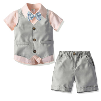 2019 gentleman children summer clothes four-piece set boys pink blouse+waistcoat + shorts baby dress suit