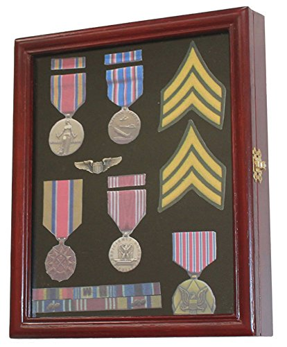 Get Quotations · Display Case Cabinet Shadow Box For Military Medals, Pins,  Patches, Insignia, Ribbons