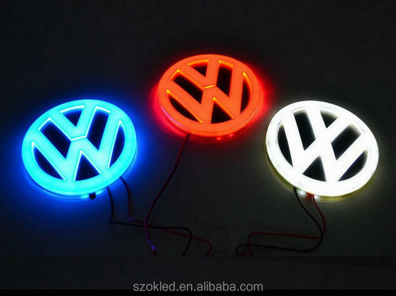 Waterproof Car front logo lamp 4D Badge EL Emblem Sticker LED front grill auto logo lights for Aodi A1 A4 A5 A6 Q3 Q5 Q7 TT R8