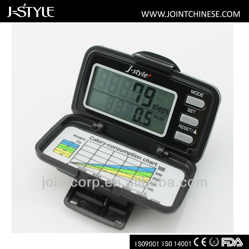 J-Style 3D Calorie Burned Gift Sports Fitness Fat Analyzer digital step counter g sensor dynamo pedometer