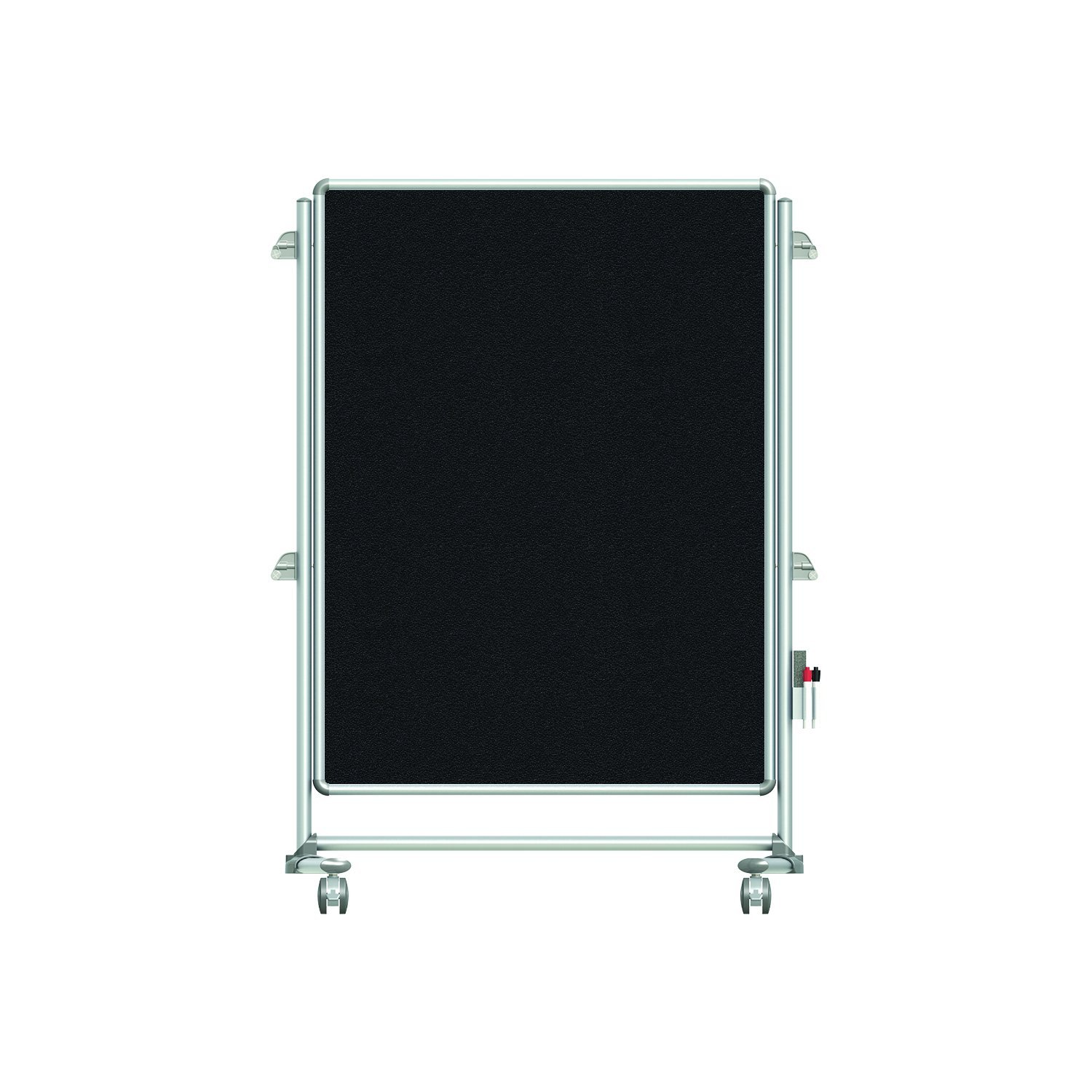 "Ghent 57-3/8"" x 40-3/8"" Nexus Jr. Partition Mobile Fabric Bulletin Board, Double-Sided, Black (NEX223FFP-95)"