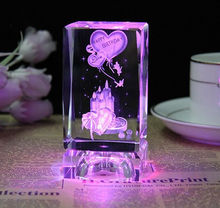 Custom 3d Laser Crystal Rose Cube/Birthday Cake Wedding&Gift Favors