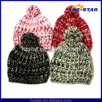 HZM-14057 Yarn pompom fancy nice unisex winter 2015 acrylic designer knitted hats
