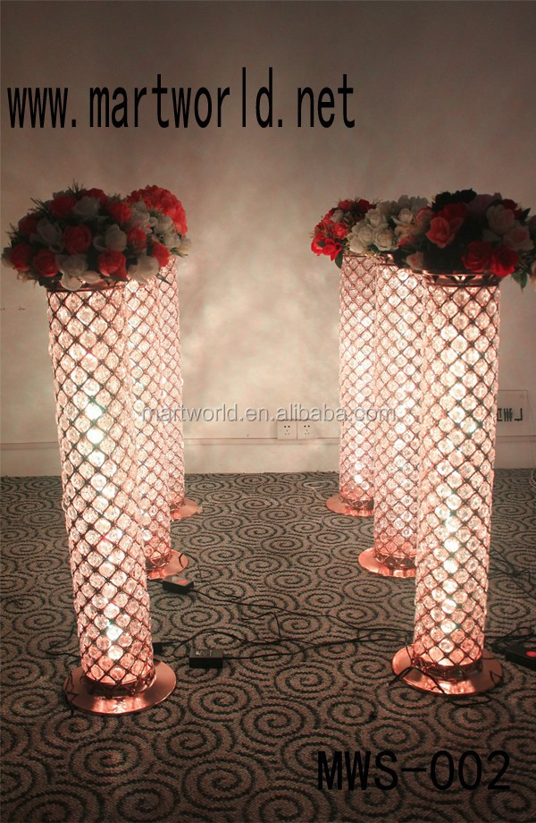 2017 Changable LED light crystal wedding pillar walkway stand wedding column for wedding party decoration(MWS-002)