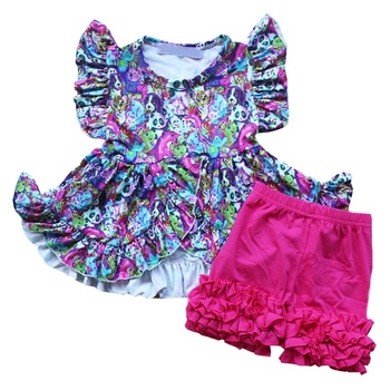 Adorable Girls Clothes Sets Wholesale Panda Animals Printing Ruffle Tunic Tops With Shorts 2pcs Kids Outfits For Summer