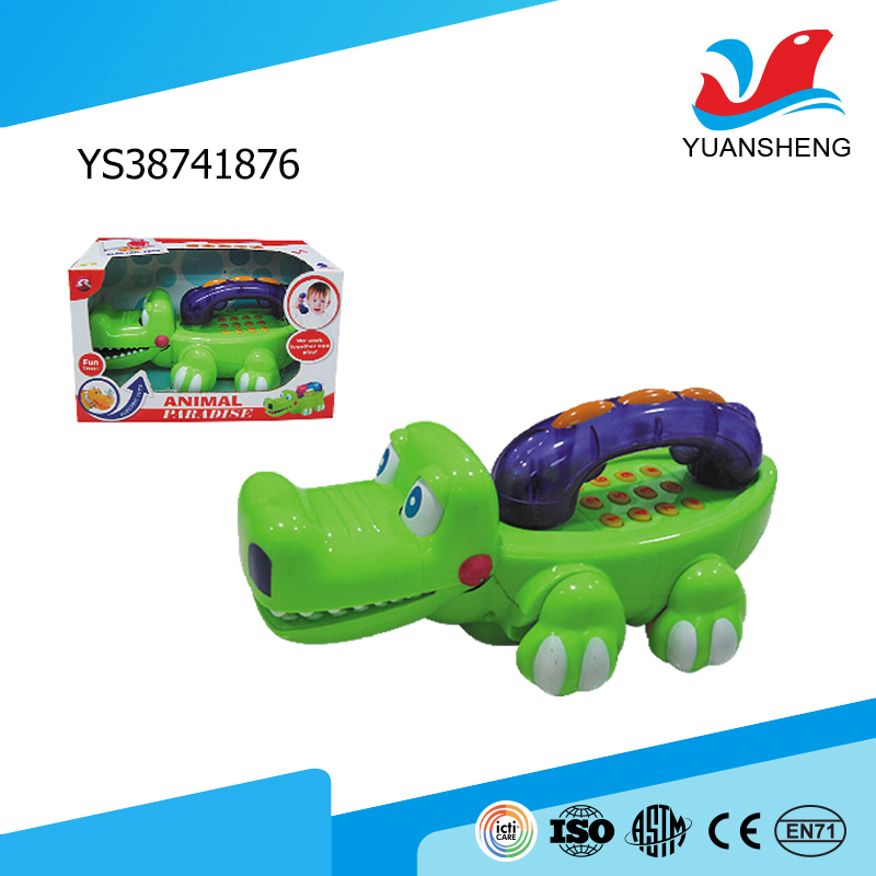 most popular items green cute crocodile shape electric mobile phone toy with light and music