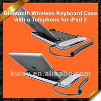 Aluminum wireless bluetooth keyboard for the new ipad 2 3 4, with telephone KOA001
