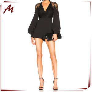 2018 Fashionable Sexy Long Sleeves Backless Black Jumpsuit Women