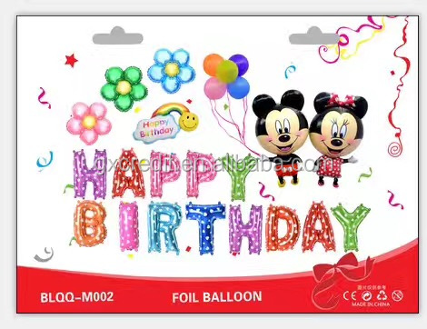 Cute Cartoon Mouse and Alphabet Letters Foil Balloons Set Happy Birthday Party Decoration