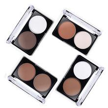 2 cores rosto Shading Powder contorno Bronzer Highlighter Palette Set aparar pó de maquiagem rosto Contour Grooming pó compacto