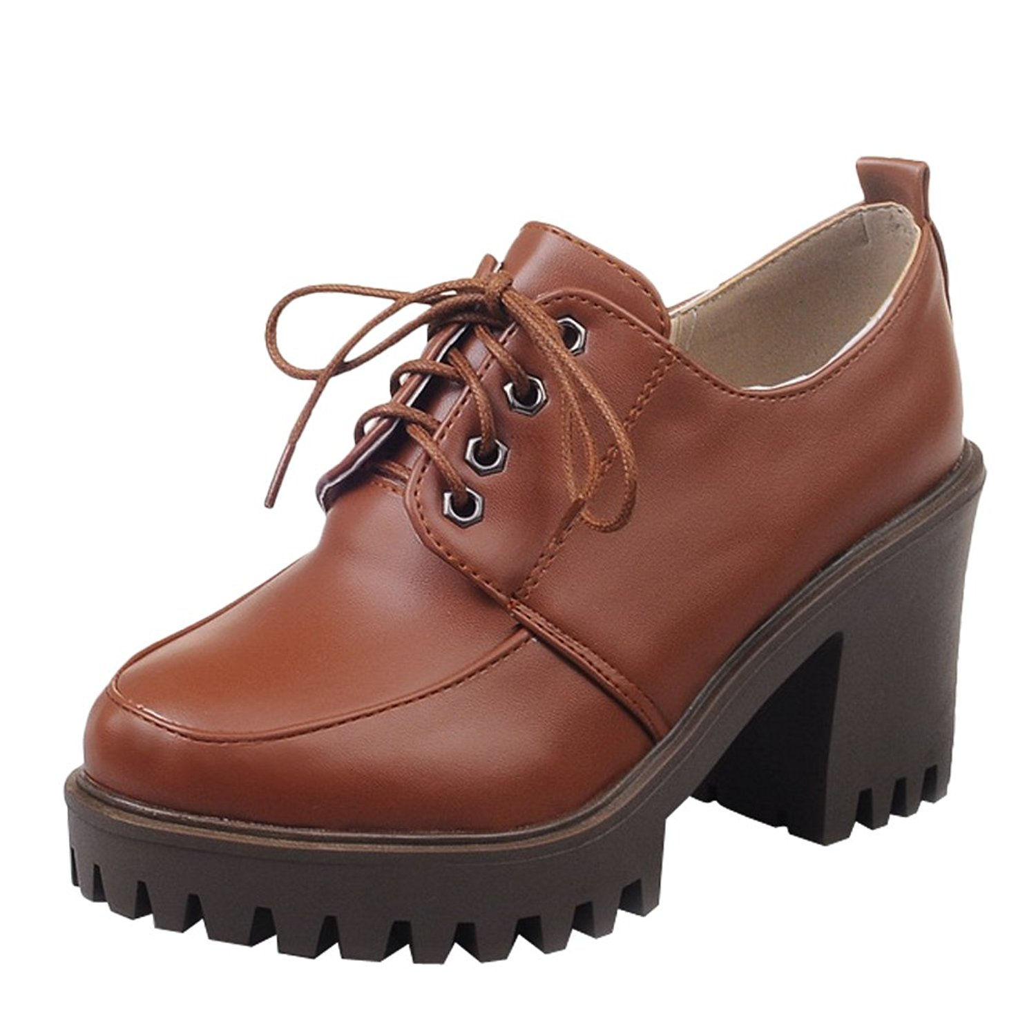 b59ca0e1a9b Get Quotations · Latasa Womens Lace up Oxford High Heels