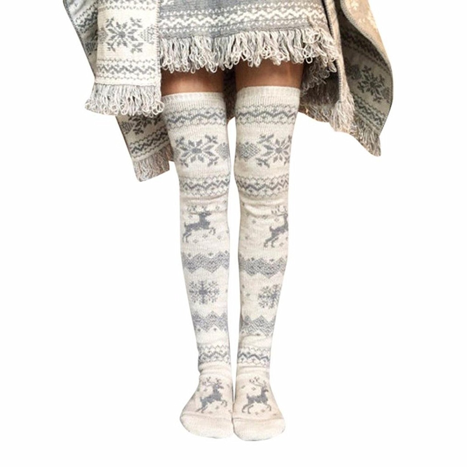 c777cfdb8a76b Get Quotations · Appoi Christmas Thigh High Stocking Winter Women Sexy Thigh  High Long Stockings Knit Over Knee Socks