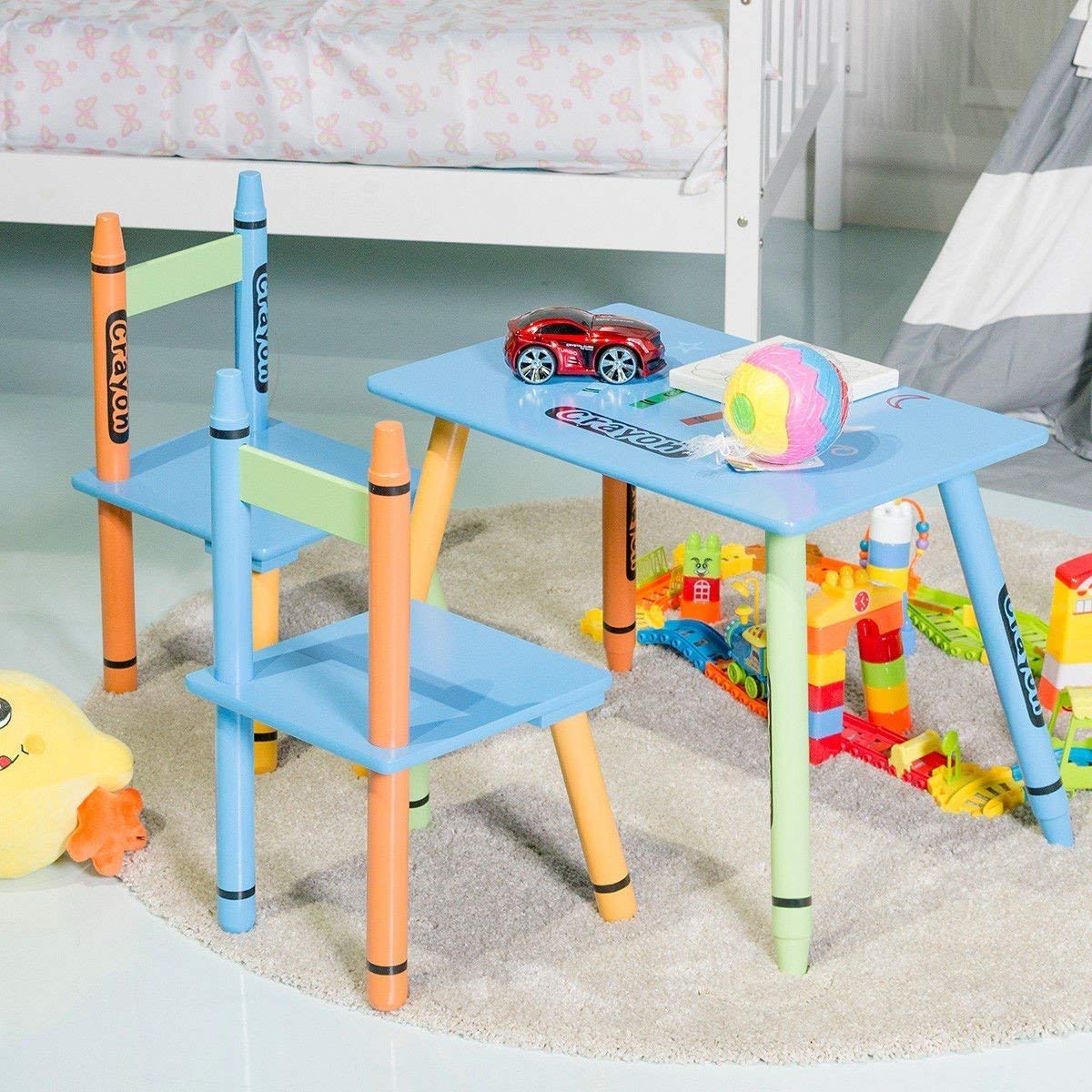 Get Quotations · Apontus 3 Piece Crayon Kids Table U0026 Chairs Set Wood  Children Activity Playroom Furniture