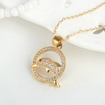 Wholesale smart animal jewelry gold dolphin pendant necklace with wholesale smart animal jewelry gold dolphin pendant necklace with crystal stone neck chain aloadofball Gallery