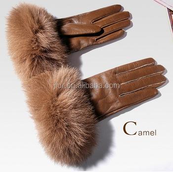 981be9d190 Genuina piel de oveja guantes de cuero de gamuza con Real Fox fur puños  forrados manoplas