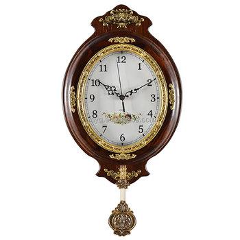 hot clock design oval shape wooden pendulum wall clock for home decor - Pendulum Wall Clock