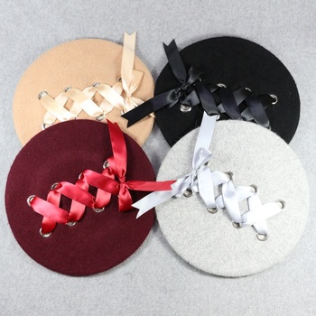 HZM-17563 New Styles Korean fashion designer female bow tie Wool Beret