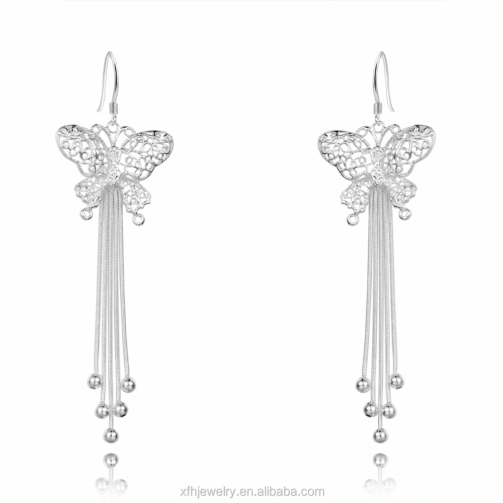 BIG SALE Manufacturer butterfly snake chain bead drop earrings, silver drop earrings