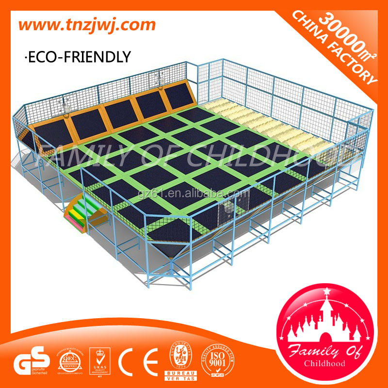 Hot indoor trampoline park trampoline equipment with soft play for sale