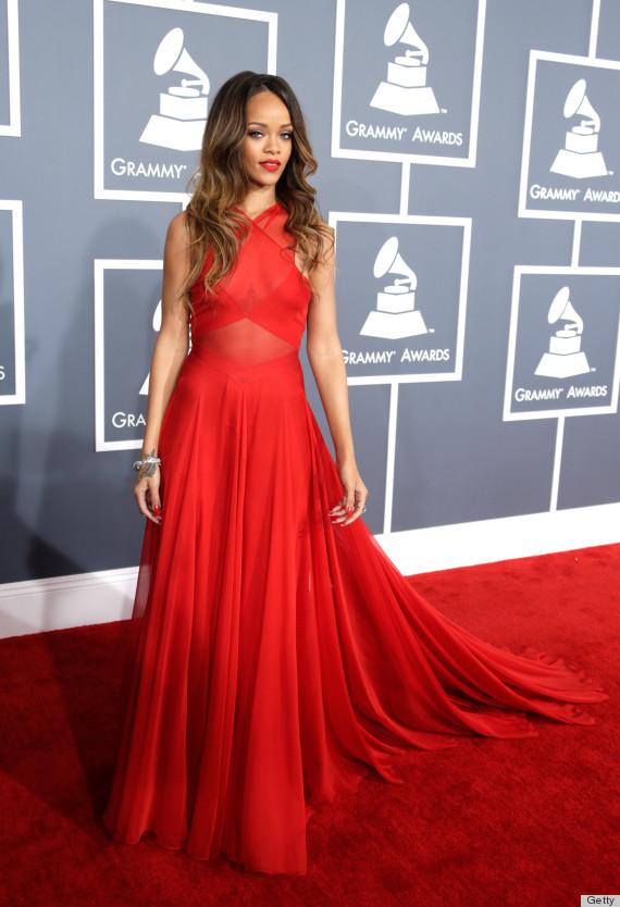 Grammy Awards 2013 New Arrival Rihanna Red Halter See ...