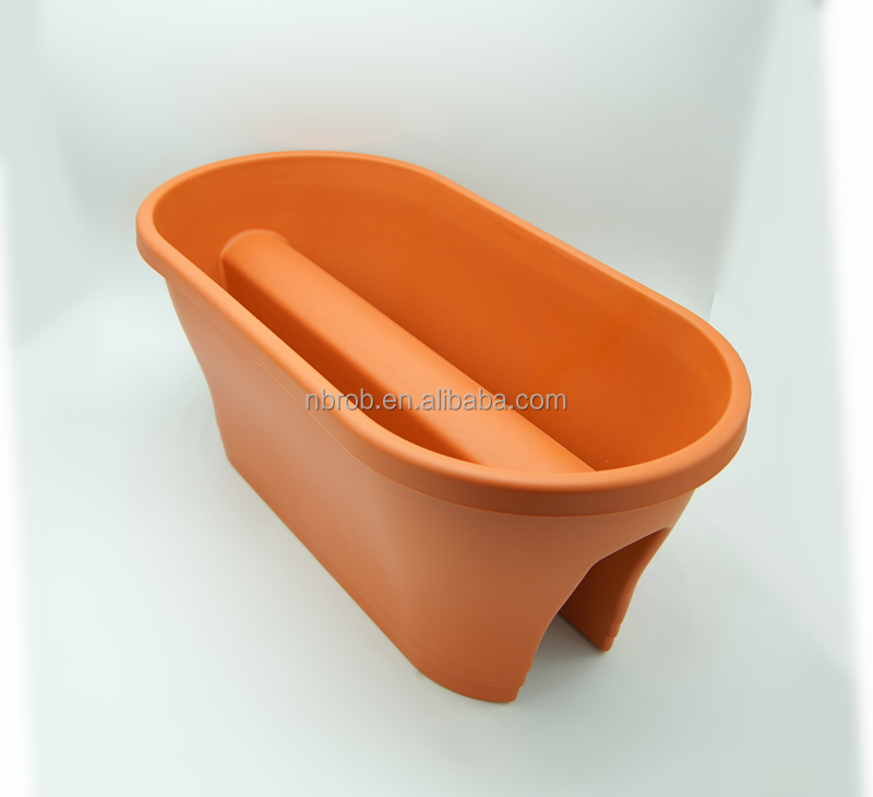 Plastic Garden Flower Pot Deck Rail Planter
