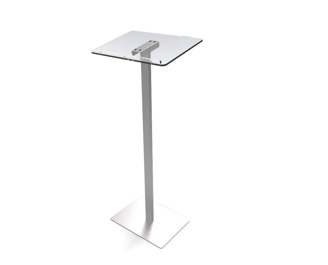 FixtureDisplays Acrylic Podium for Floor, Aluminum Pole & Base - Clear & Silver 119741!