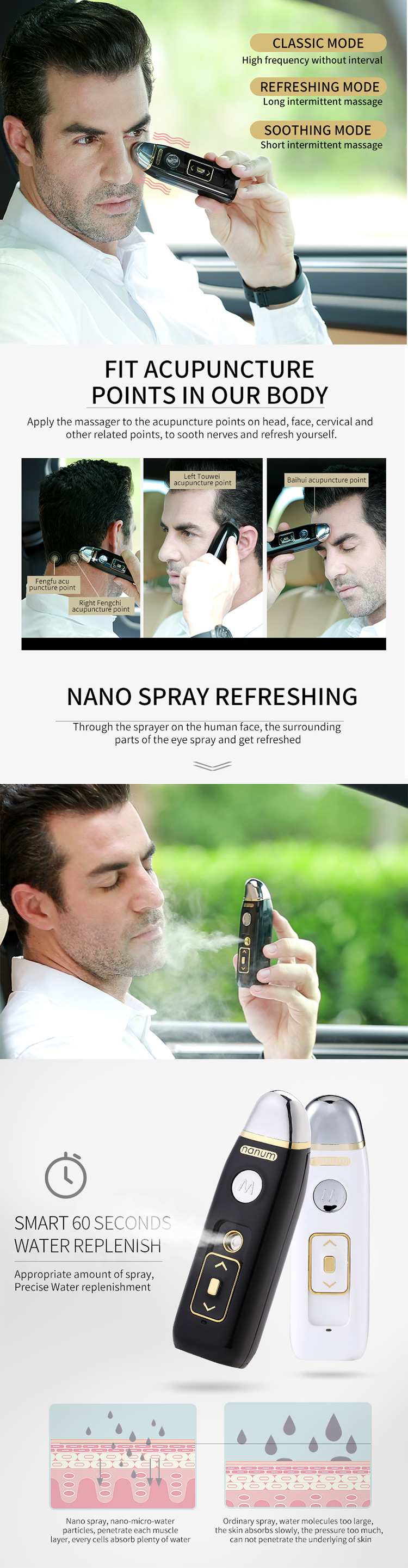 Gift Items Nano Face Mist Sprayer Men Mini Vibrator Vibration Facial Massage Machine