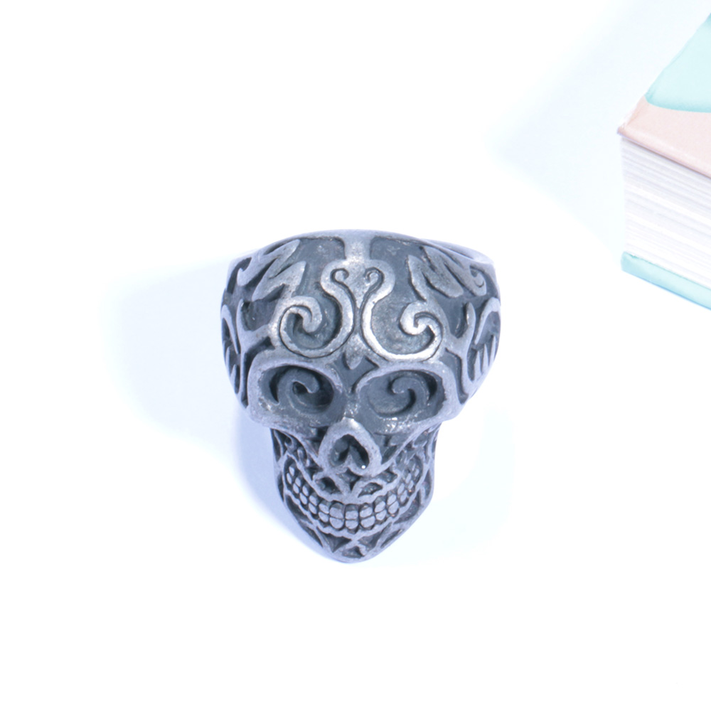 Wholesale Punk Style Men Casting Stainless Steel Skull Skeleton Ring For Men