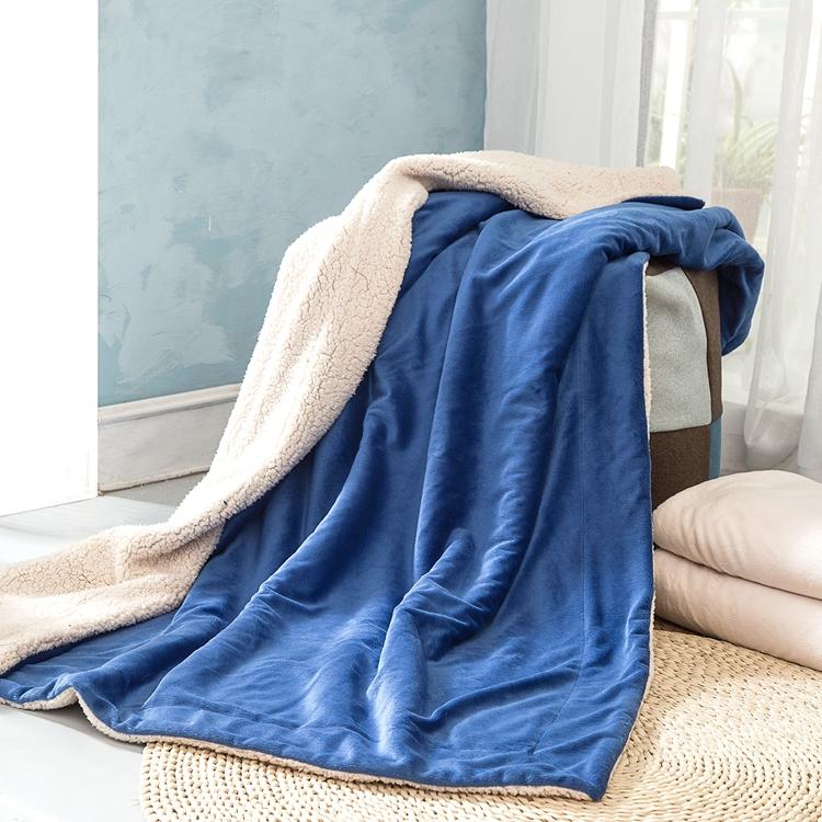 En gros Personnalisé épais couverture antipilling solide super doux velours et tissu sherpa collé couvertures pour l'hiver