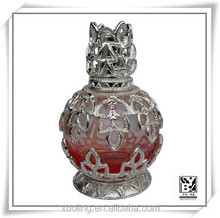 Practical and delicate beads shape glass fragrance oil burner with metal decoration