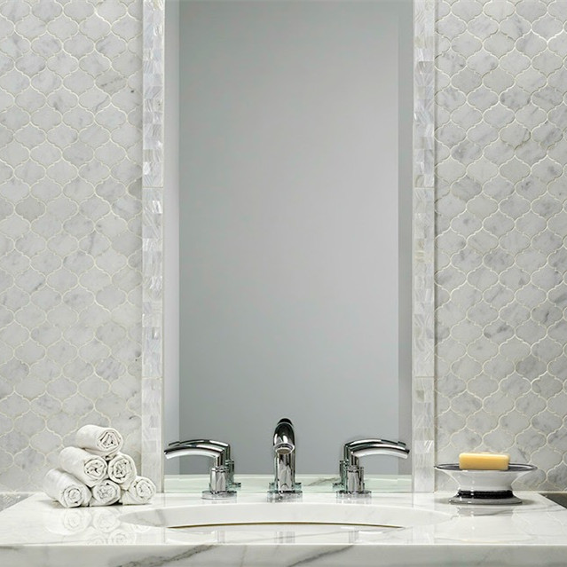 Bathroom Wall Waterjet Marble Stone Mosaic Tile Product On Alibaba