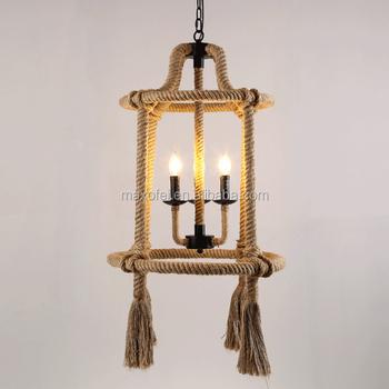 Wholesale Maxofei vintage metal and hemp rope pendant lamp ...