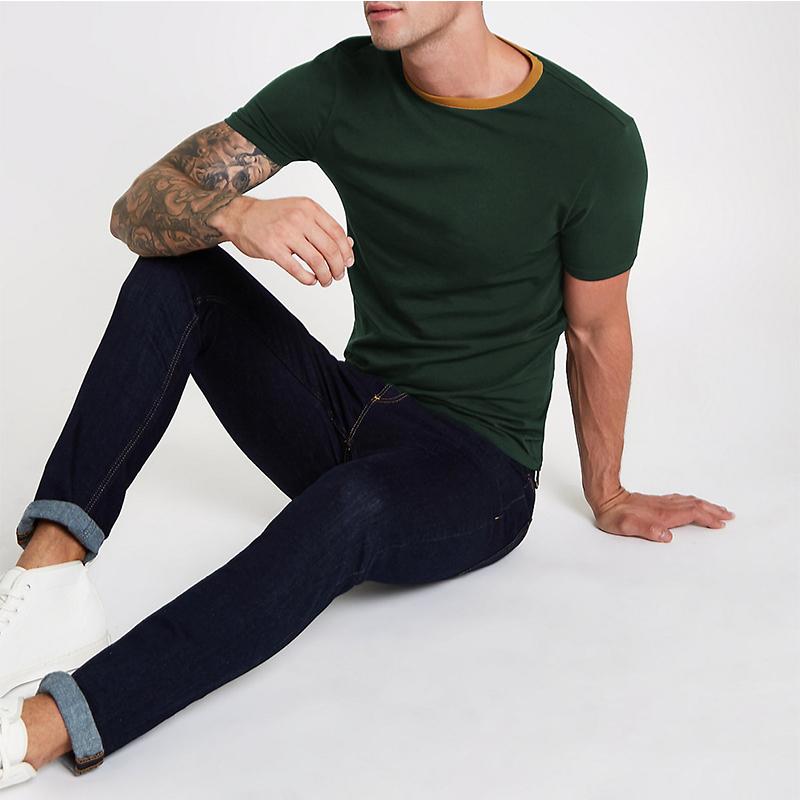 Thick cotton material 3/4 sleeve men t shirts bulk plain gym shirt for men
