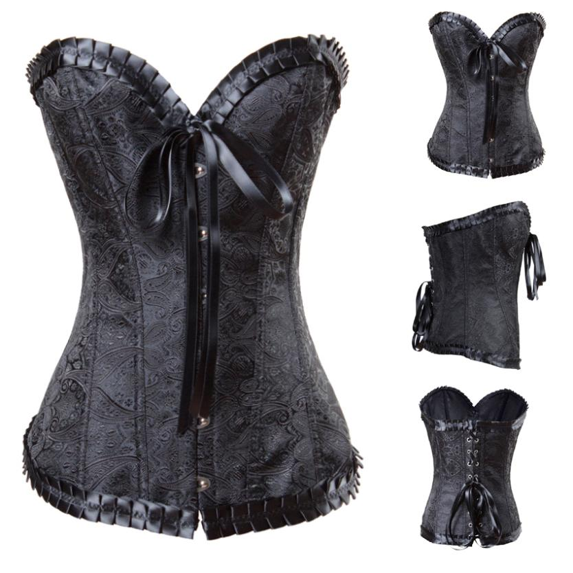 Embossed Pattern Embroidery Bustiers Overbust Waist ...