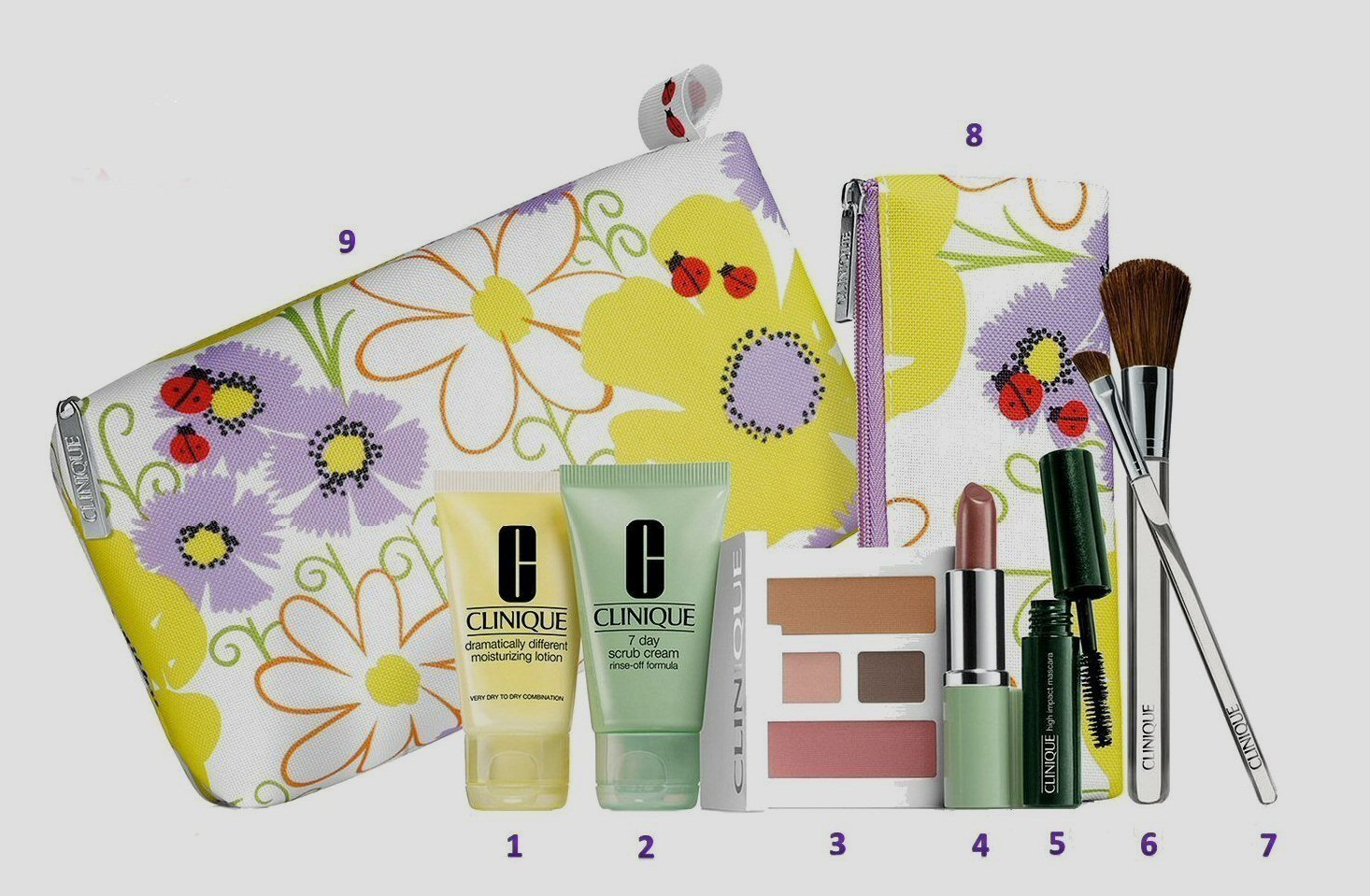 Brand New Clinique 2013 Spring 9 Pcs Beauty Essentials (Violet Color) Gift + Brush Set, Includes: (1) 7 Day Scrub Cream Rinse Off Formula 1 Oz, (1) Dramatically Different Moisturizing Lotion 1 Oz, (1) High Impact Mascara in Black, (1) Compact with Twilight Mauve/brandied Plum Duo Eye Shadow,