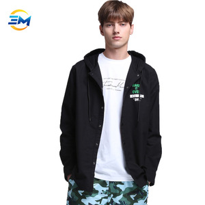 2019 Fashion style letter printing hooded mid-length 100% cotton black button open hoodie for men clothing