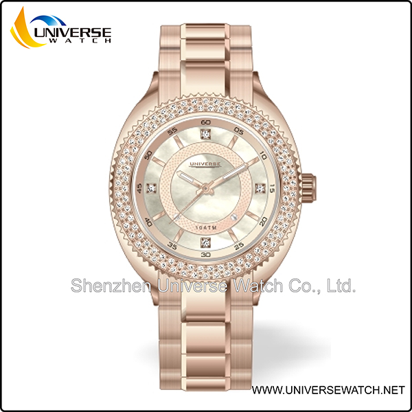 Rose gold tone stainless quality analogue watch at best price UN5161G-5