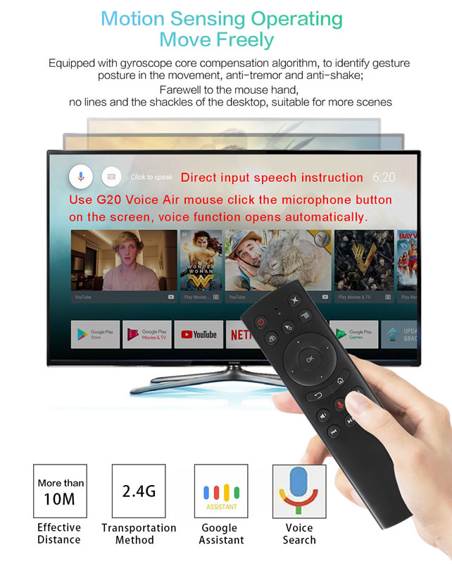 G20s 2.4GHz Wireless Remote Control Air Mouse IR Learning Voice with Gyro Sensor for android ott tv box