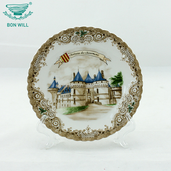 19.5*19.5*2cm Turkey souvenir tourist ceramic display plate with stand