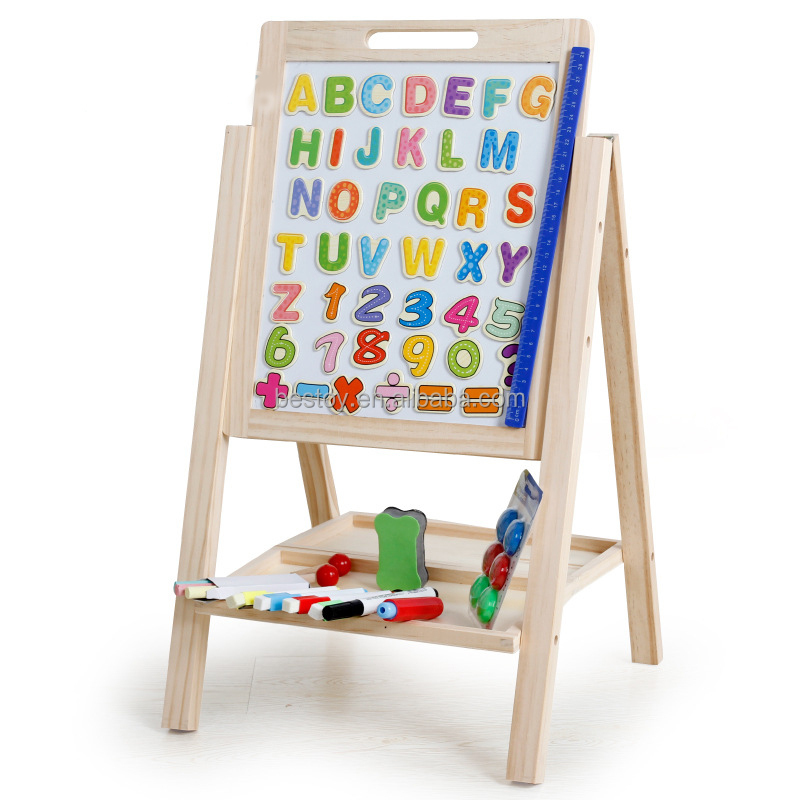 Wooden Easel Double Sided Magnetic Whiteboard Painting Easel for Kids