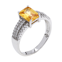Wholesale Pesonalized 925 Sterling Silver Diamond Wedding Engagement Gold Ring