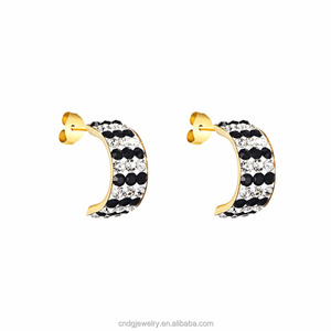 Jewelry Stainless Steel Beautiful Designs Ear Ring C Shaped Gold Diamond Cuff Earrings Stud