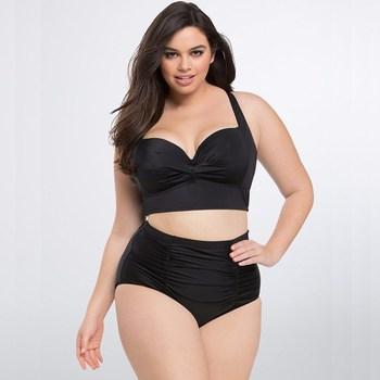 f0ddd525acd9e 2018 New Bikinis High Waist Swimsuit Women Plus Size Swimwear Print Vintage  Retro Floral Beach Push