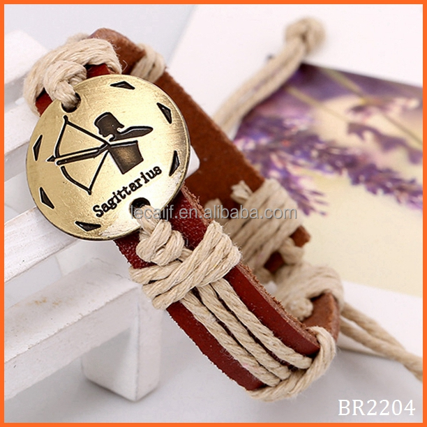 100% Hand-woven Hand-made Antique Brass Exotic Feeling Ladies Women Men Twelve Constellations Bracelets with Real Leather Band