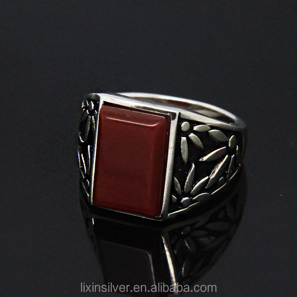 LIXIN 925 sterling silver black plating big stone man ring (BYNJ068-OP)