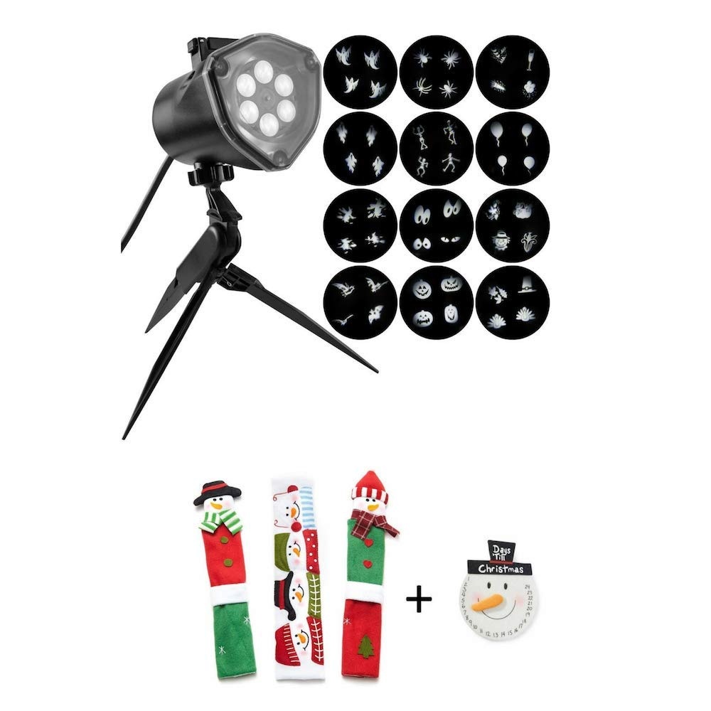 EJloveshopping Projection 4-Bulb LED White Whirl-A-Motion Strobe Light Stake with 12-Changeable Halloween Slides with Bonus Snowman Kitchen Appliance Handle Covers & Snowman Countdown Calendar