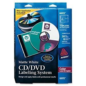 CD/DVD Design Kit, Matte White, 30 Laser Labels and 8 Inserts