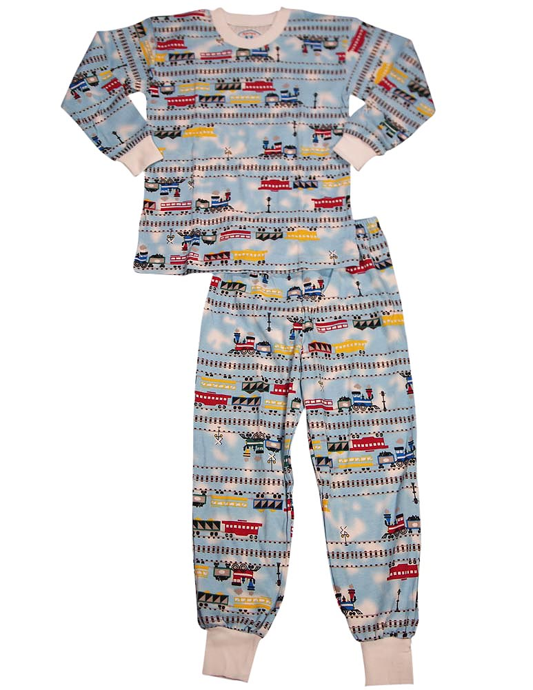 Infant Boys Long Sleeve Train Pajamas, Light Blue