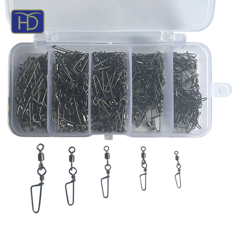 High quality <strong>fishing</strong> tackle set 200pcs/set brass rolling swivel with coastlock snap